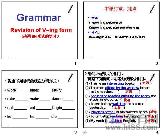 高中英语动词-ing形式的复习ppt